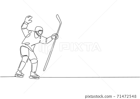 One continuous line drawing of young professional ice hockey goalie exercising to block puck shot on ice rink stadium. Health extreme sport concept. Dynamic single line draw design vector illustration 71472548