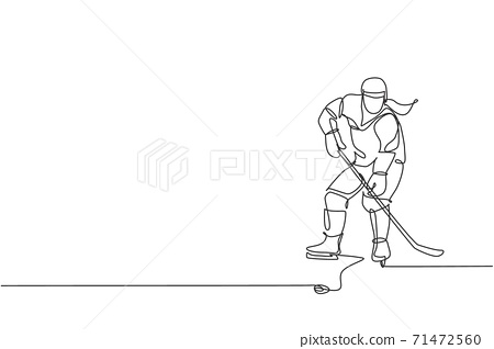 One single line drawing of young ice hockey player in action to play a competitive game on ice rink stadium graphic vector illustration. Sport tournament concept. Modern continuous line draw design 71472560