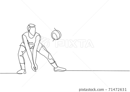 Single continuous line drawing of male young volleyball athlete player in action block the ball from opponent. Team sport concept. Competition game. Trendy one line draw design vector illustration 71472631