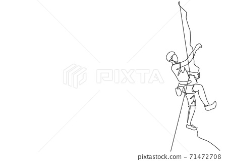 Single continuous line drawing of young muscular rockclimber man climbing hanging on mountain grip. Outdoor active lifestyle and rock climbing concept. Trendy one line draw design vector illustration 71472708