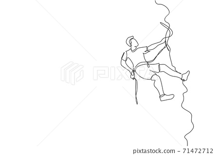 One single line drawing of young active man climbing on cliff mountain holding safety rope vector graphic illustration. Extreme outdoor sport and bouldering concept. Modern continuous line draw design 71472712