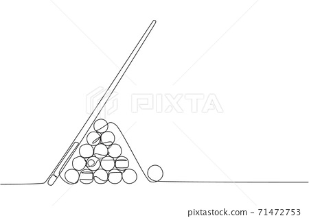 One continuous line drawing of triangle pyramid balls stack for pool billiards game at billiard room. Tournament indoor sport game concept. Dynamic single line draw graphic design vector illustration 71472753