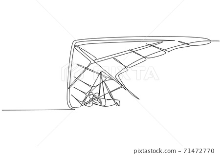 One single line drawing of young sporty man flying with hang gliding parachute on the sky graphic vector illustration. Extreme sport concept. Modern continuous line draw design 71472770