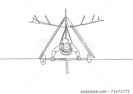 Single continuous line drawing of young tourist man flying with hang gliding parachute on the sky. Extreme vacation holiday sport concept. Trendy one line draw graphic design vector illustration 71472775