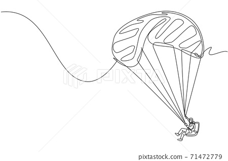 Single continuous line drawing of young tourist man flying with paragliding parachute on the sky. Extreme vacation holiday sport concept. Trendy one line draw design vector graphic illustration 71472779