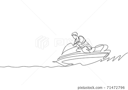 One single line drawing young sporty man play jet skiing in the sea beach graphic vector illustration. Healthy lifestyle and extreme sport concept. Summer vacation. Modern continuous line draw design 71472796