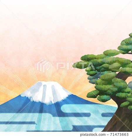 소나무와 후지산의 배경 일러스트 71473663