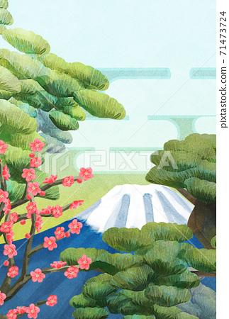 소나무와 후지산과 매화 일러스트, 연하장 크기 71473724