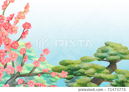매화와 소나무 그림 엽서 크기, 연하장 71473778