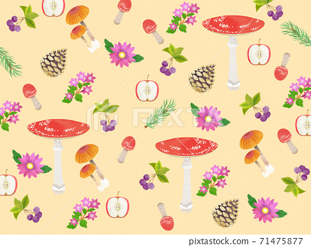 蘑菇,花和堅果的圖案 71475877