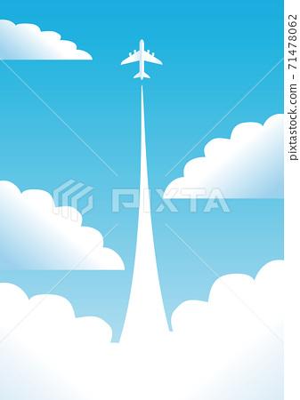 夏天海藍色天空飛機複製空間背景圖 71478062