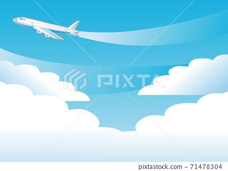 夏天海藍色天空飛機複製空間背景圖 71478304