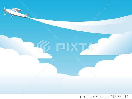여름 푸른 하늘 비행기 구름 복사 공간 배경 일러스트 71478314