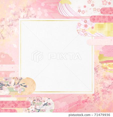 感覺到日本紙質地的背景材料春天,櫻花季節[1:1] 71479936