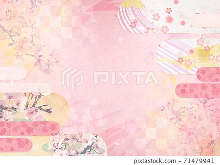 종이의 감촉을 느낄 배경 소재 봄, 벚꽃의 계절 [XL에서 A3size-350dpi] 71479941