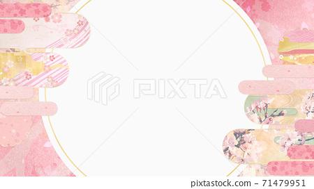 感覺到日本紙質地的背景材料春天,櫻花季節[16:9] 71479951