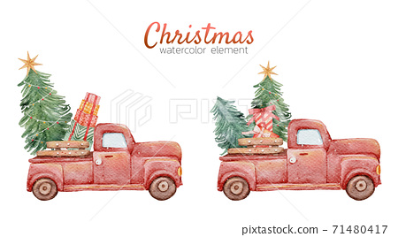 Christmas cute car watercolour hand painting isolated on white background 71480417
