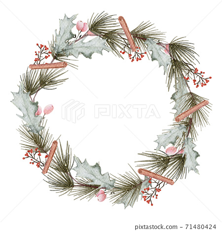 Christmas wreath watercolour hand painting isolated on white background 71480424