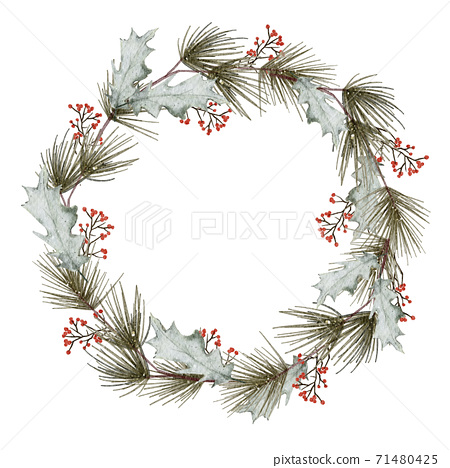 Christmas wreath watercolour hand painting isolated on white background 71480425