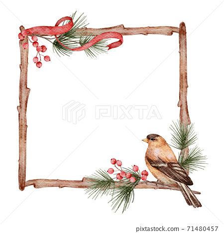 Christmas frame watercolour  hand painting isolated on white background 71480457