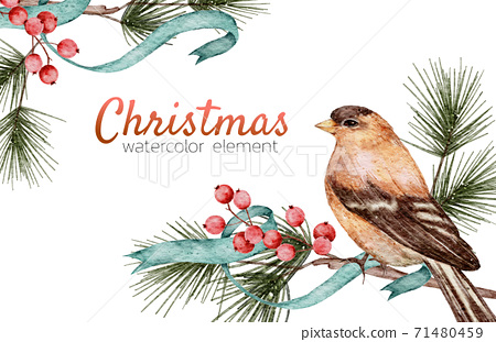 Christmas card watercolour hand painting isolated on white background 71480459