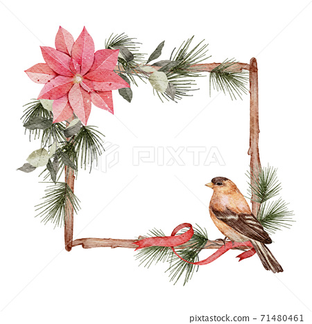 Christmas frame watercolour  hand painting isolated on white background 71480461