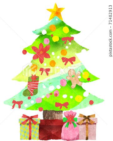 Watercolor christmas tree 71482913