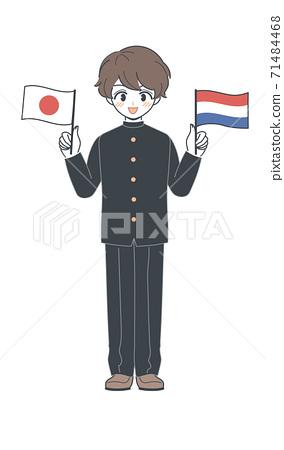 學生/學校用荷蘭國旗和日本國旗運行的矢量 71484468