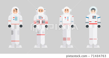 Set of Astronaut characters. Modern cartoon spaceman character in flat style. Vector illustration. 71484763