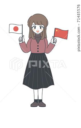 帶有中國和日本國旗的姐妹矢量 71485576