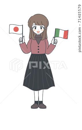 姐妹矢量與意大利和日本的國旗 71485579
