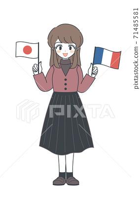 姐姐矢量與法國和日本的國旗 71485581