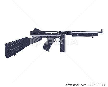 american submachine gun over white 71485844