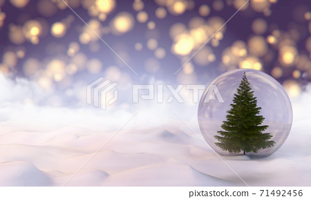 The Snow Globe with Christmas tree inside it. 3d illustration 71492456