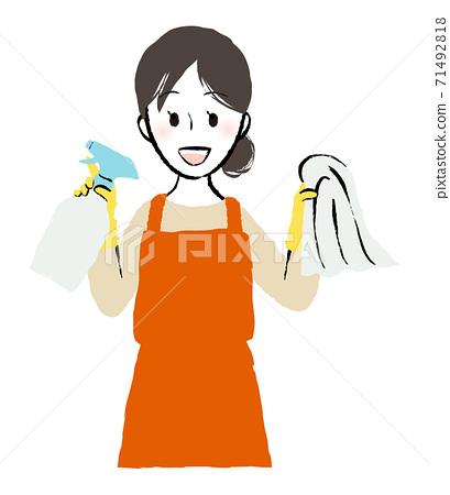 戴上橡胶手套并开始清洁的人 71492818