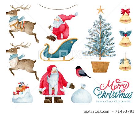 手繪水彩畫|聖誕聖誕老人插圖集 71493793