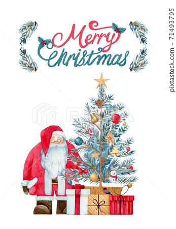 手繪水彩 聖誕快樂聖誕老人插圖 71493795