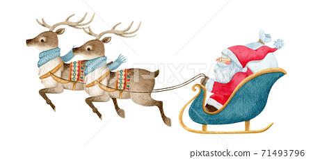 手繪水彩畫|聖誕老人和馴鹿圖 71493796