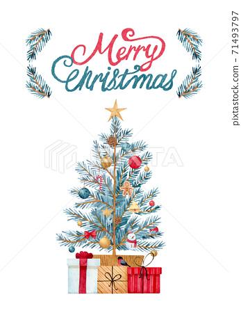 手繪水彩畫|聖誕快樂聖誕樹插圖 71493797