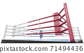 3D boxer arena. Isolated boxing ring. 3D rendering. Corner of the boxing ring. Isolated on a white background 71494436