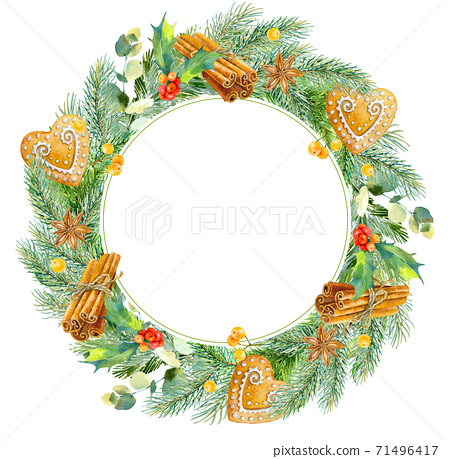 Watercolor christmas frame. Watercolor Christmas wreath with fir branches and place for text. 71496417