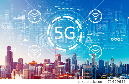 5G network with downtown Chicago cityscape 71499651