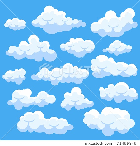 Set of catoon clouds isolated on blue sky 71499849