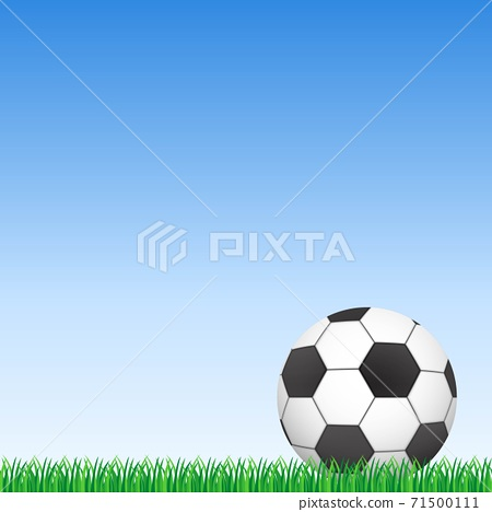 Background of football ball on green grass and blue sky vector illustration. 71500111