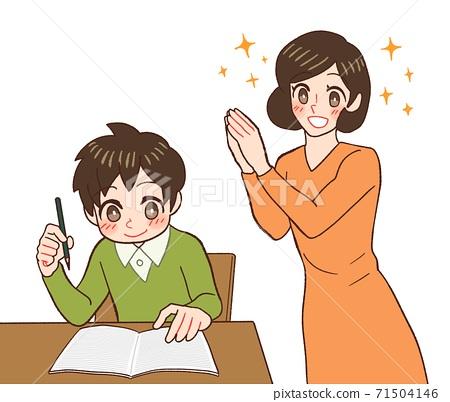 숙제를하는 아이를보고 기뻐하는 엄마 71504146
