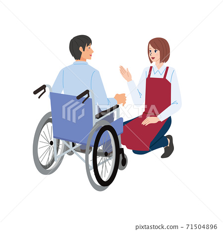 Illustration of a man in a wheelchair and a woman in a clerk 71504896