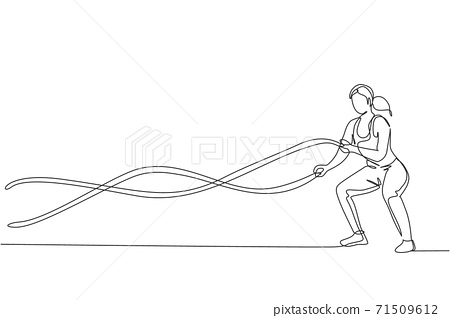 One continuous line drawing young woman training battle rope in fitness training gym. Healthy sport lifestyle concept. Stretching and working out. Dynamic single line draw design vector illustration 71509612