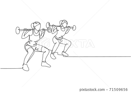 One continuous line drawing of two young sporty women working out lifting barbell with squat pose in fitness gym club center. Healthy fitness sport concept. Single line draw design vector illustration 71509656