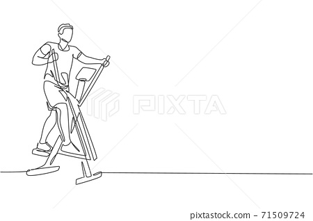 One continuous line drawing of young sporty man working out with elliptical cross in fitness gym club center. Healthy fitness sport concept. Dynamic single line draw graphic design vector illustration 71509724