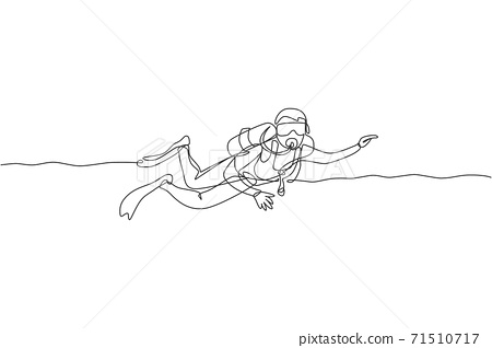 Single continuous line drawing of young sportive man swimming on sea ocean to explore fish and coral reef life. Underwater scuba diving sport concept. Trendy one line draw design vector illustration 71510717